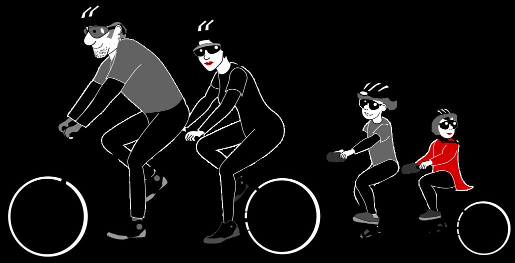 Famlie auf Fahrrad - Illustration