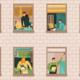 Grafik, die Hauswand mit Fenstern und den eEwohner-innen zeigt (Copyright: Macrovector via Freepik)